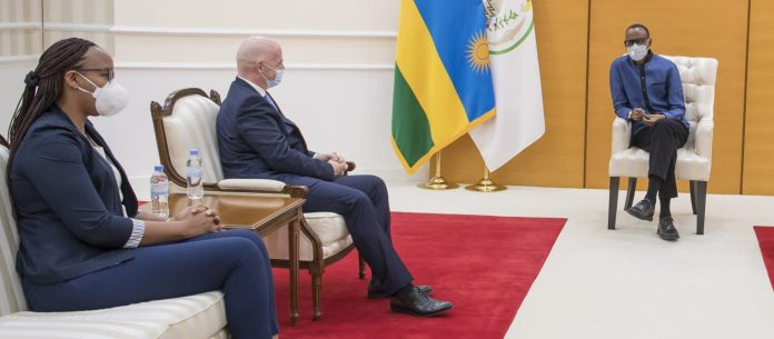 The FIFA President Gianni Infantino(the one in the middle) in a Meeting with the President of Rwanda H.E Paul Kagame.
