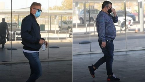 Erling Haaland's Father Alfie Haaland(on the Left) and Agent Mino Raiola (on the Right-hand side) Spotted at Barcelona Airport Today.