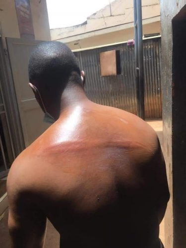 Mike Mutyaba after being beaten at FUFA House today.