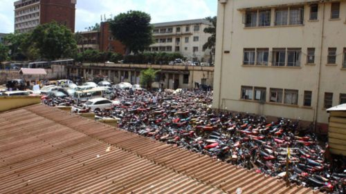 Impounded motorcycles at Kampala Central Police Station.