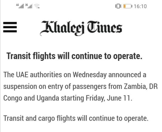 Tension As UAE suspends arrival from Zambia, DR Congo and Uganda